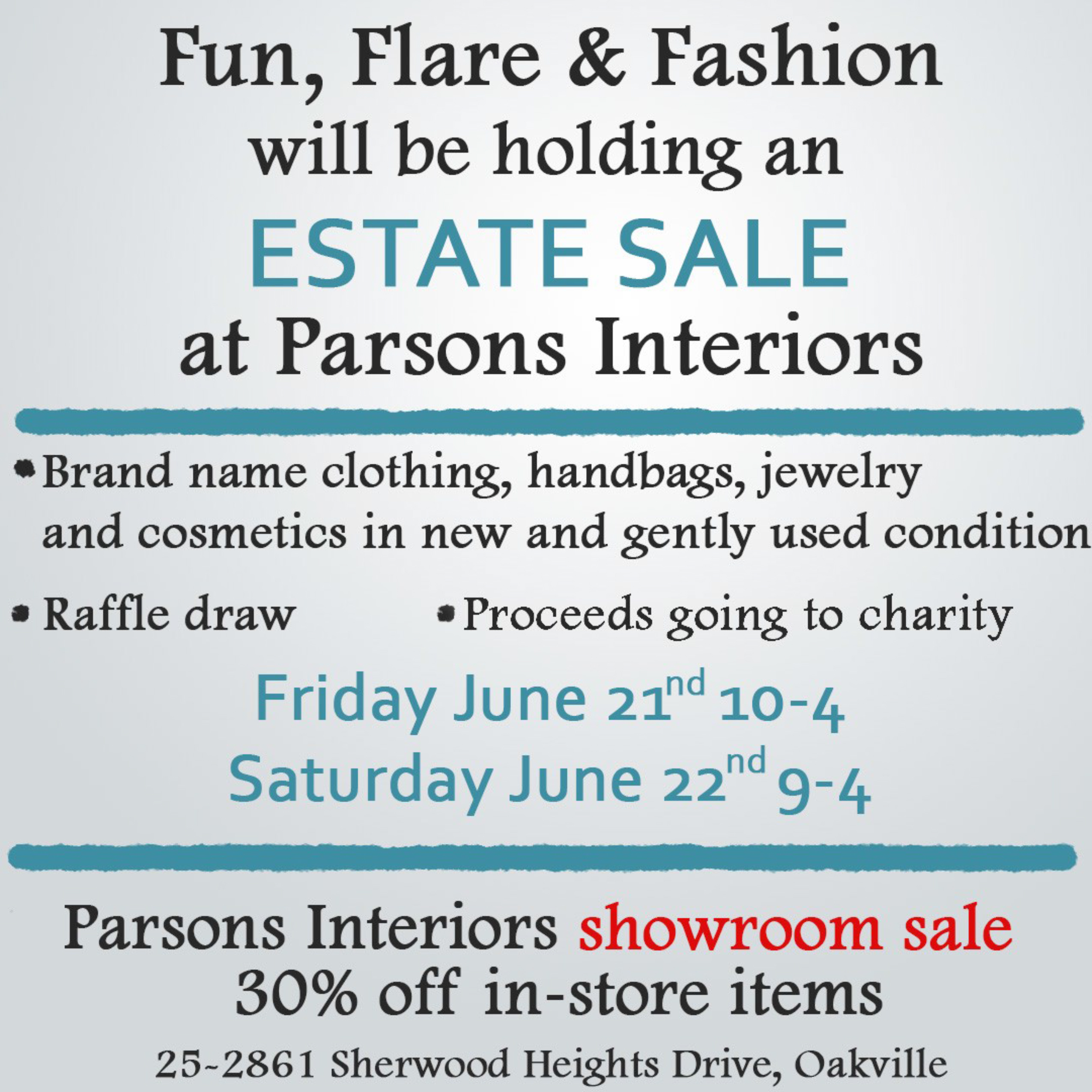 Estate Sale - PARSONS INTERIORS LTD.