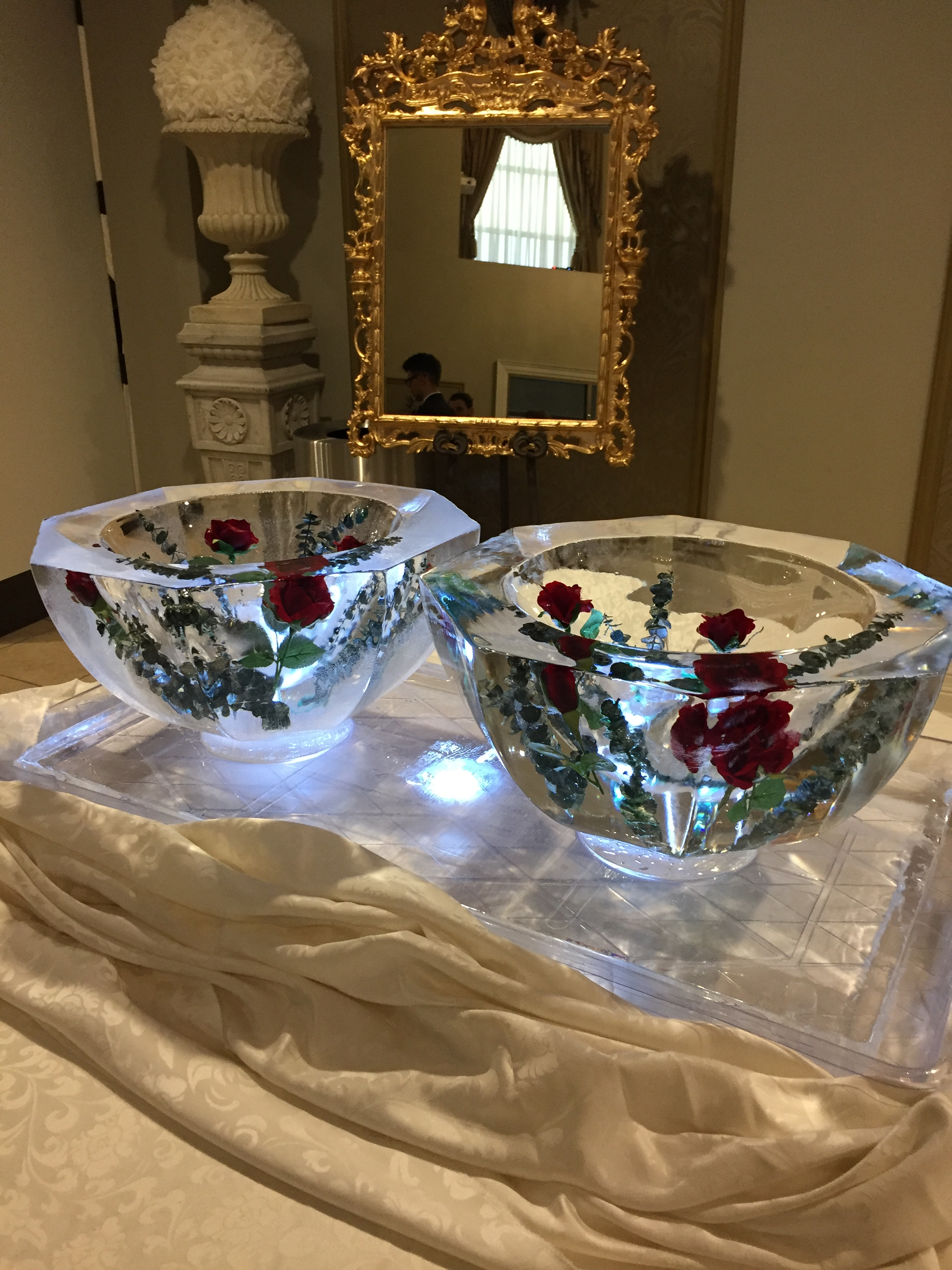 Ice Bowl Server With Embeded Flowers