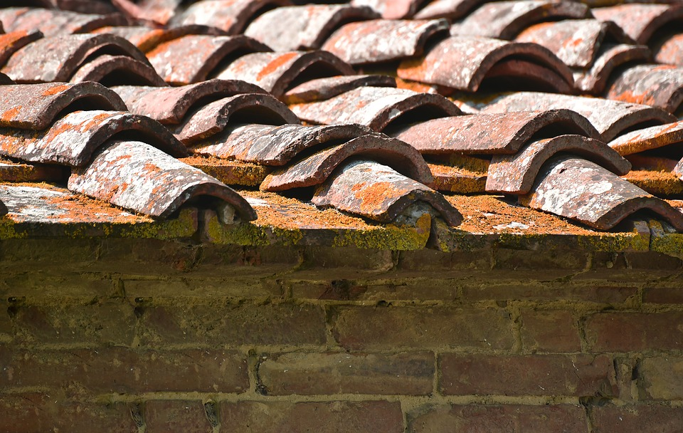 A close-up of decaying roof tiles.
