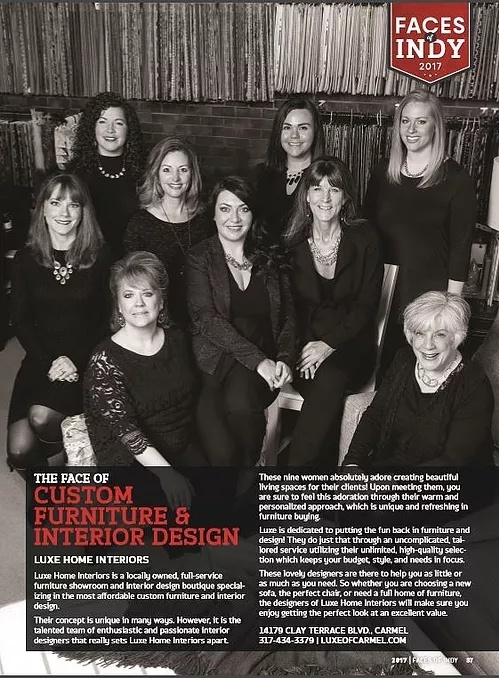 2017 Indianapolis Monthly Magazine's Face of Custom Furniture and Interior Design - Luxe Home Interiors