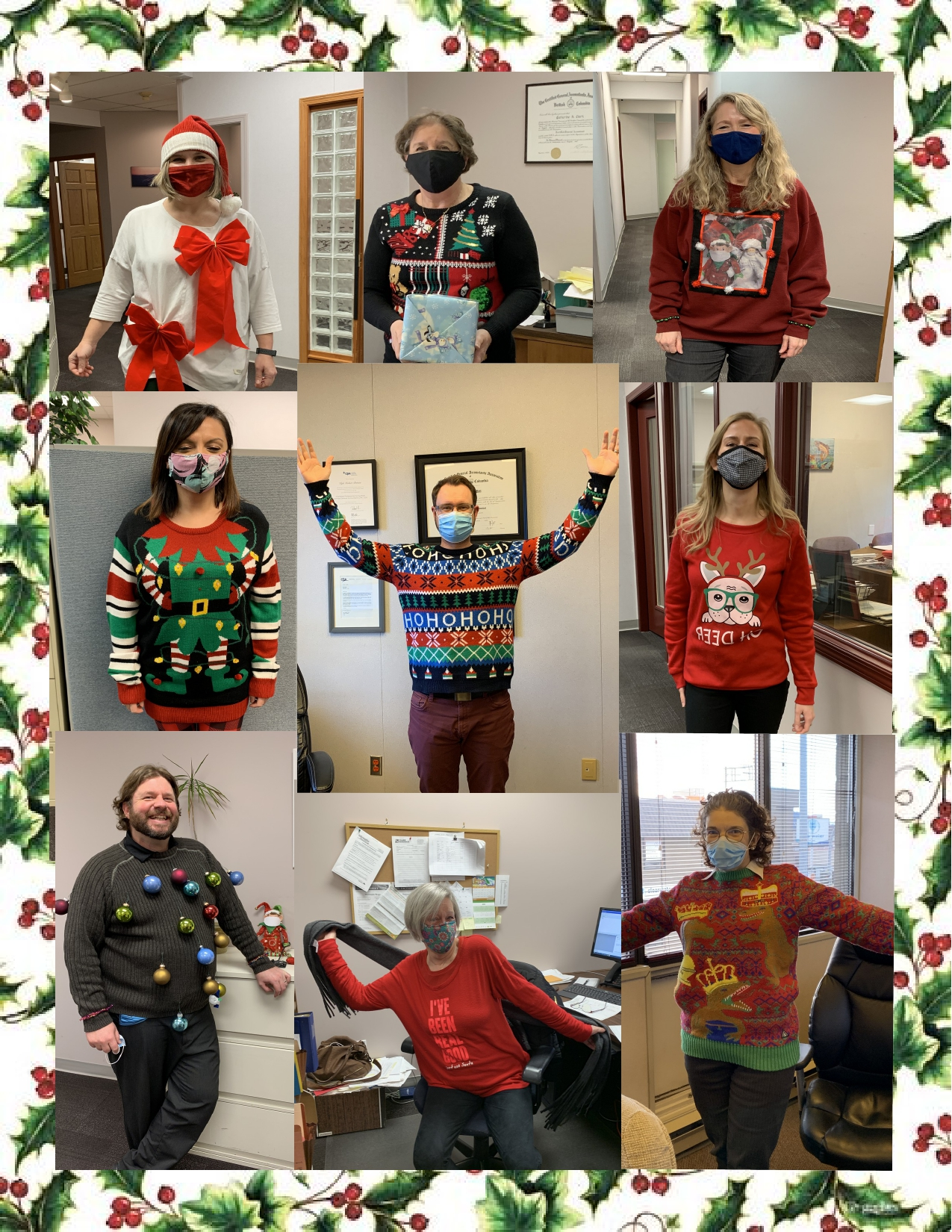 Some ugly sweater fun at the office. Congrats to winners David, for ugliest creation, and Nadia, for being the most festive!