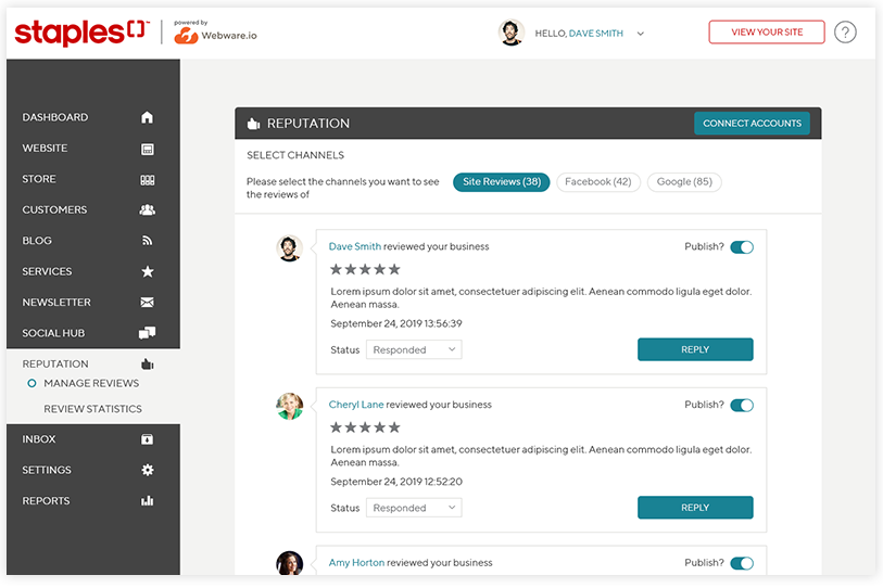 Webware's online reputation management services to manage your reviews