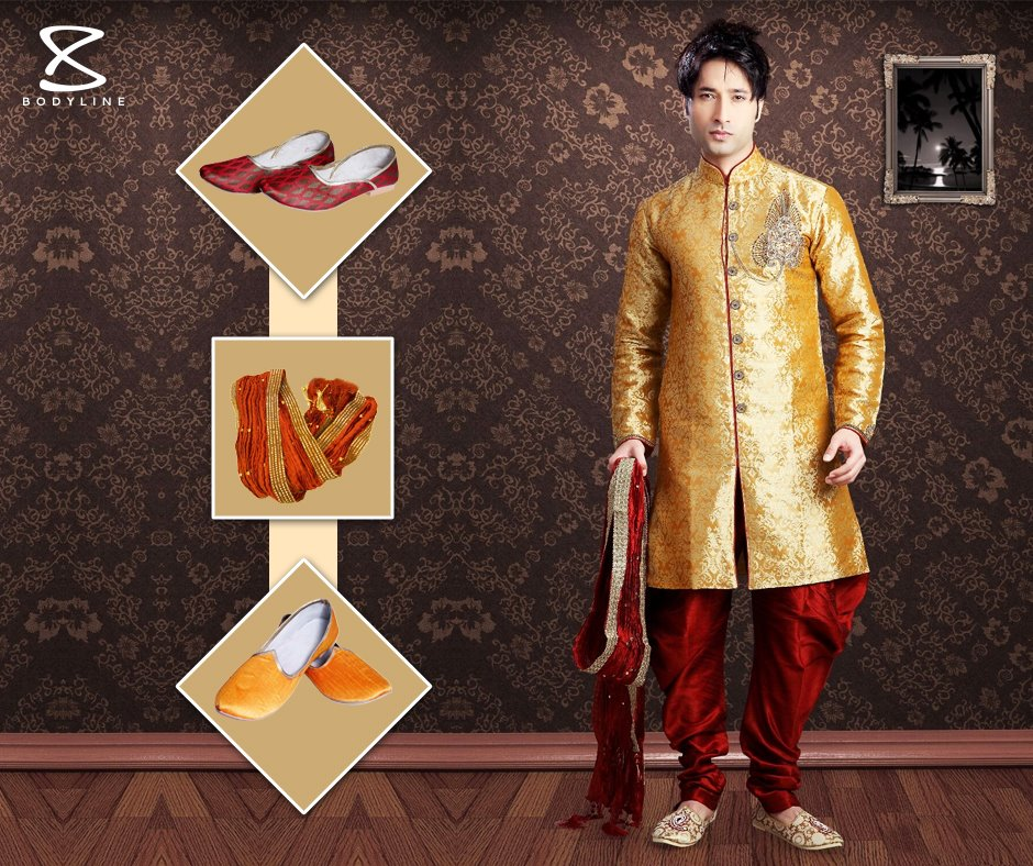 Golden Sherwani Designs