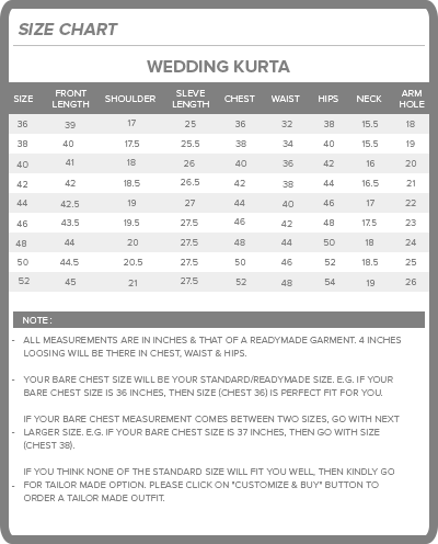 bodyline size charts wedding kurta