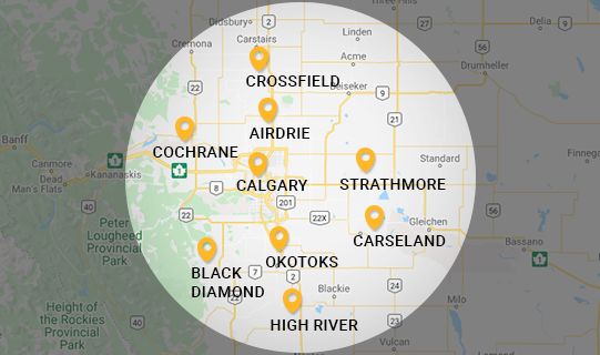 Low Buck Towing Service Area Map - Okotoks Towing Company